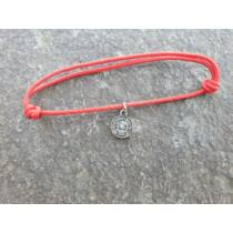 Piros szerencse karkötő - Ikrek horoszkópos medállal -