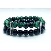 Zöld tigrisszem és fényes fekete onix ásványkarkötő, cirkónia kővel kirakott ezüst színű összekötővel
