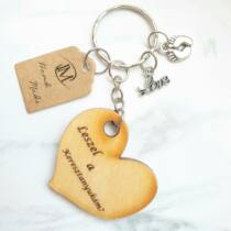 Leszel a keresztanyukám? - szív alakú fa kulcstartó -
