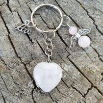 Rózsakvarc ásvány szív kulcstarto, angyalkával