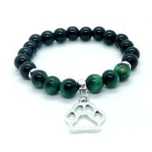Fényes fekete onix ásványkarkötő, zöld tigrisszem ásványgyöngyökkel, kutya mancs medállal -Segítsünk együtt!-