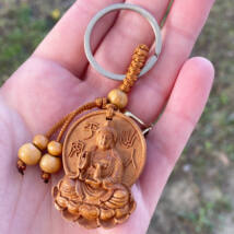Buddha 02 - mahagónifa kulcstartó