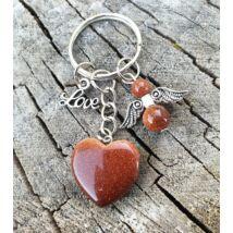Barna napkő ásvány szív kulcstarto, angyalkával