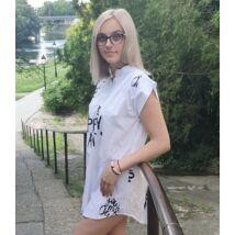 Fehér alapon fekete mintás ing ruha/tunika