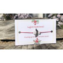Legjobb barátnőmnek! - piros fonalas hegyikristály gyöngyös angyalkás karkötő - 6