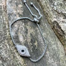 """Cirkónia kővel kirakott """"szem"""" medálos rozsdamentes acél állítható karkötő"""