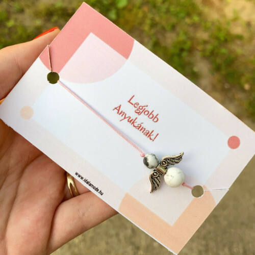 Legjobb anyukának! - Howlite ásványgyöngyös rózsaszín angyalka karkötő - 2 -