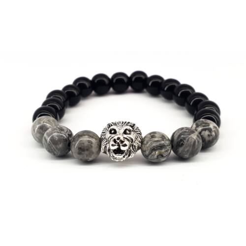 Fényes fekete onix ásványkarkötő,szürke selyem ásványgyöngyökkel, ezüst színű oroszlán fejjel