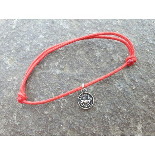 Piros szerencse karkötő - Kos horoszkópos medállal -