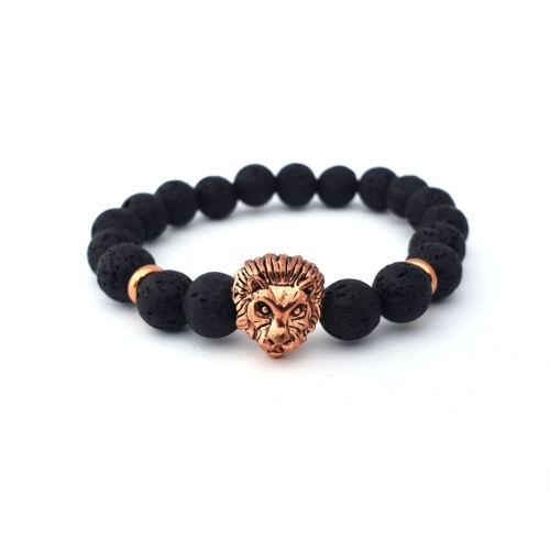 Fekete lávaköves ásványkarkötő, rose gold színű oroszlán fejjel