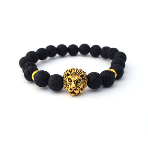 Fekete lávaköves ásványkarkötő, arany színű oroszlán fejjel