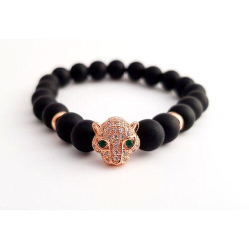 Matt fekete onix ásványkarkötő, cirkónia köves, rose gold színű leopárd fejjel