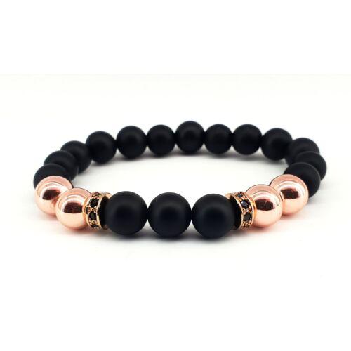 Matt fekete onix ásványkarkötő, rose gold színű hematit gyöngyökkel, fekete cirkónia köves elválasztóval