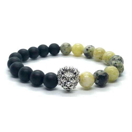 Matt fekete onix és jasper ásványkarkötő, ezüst színű oroszlán fejjel