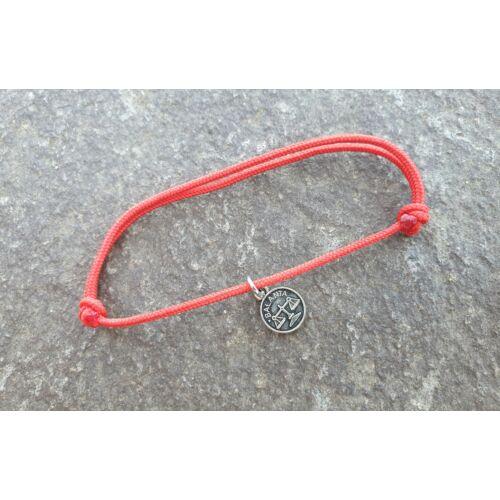 Piros szerencse karkötő - Mérleg horoszkópos medállal -