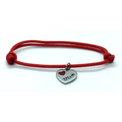 Piros szerencse karkötő, Mom szív fityegővel