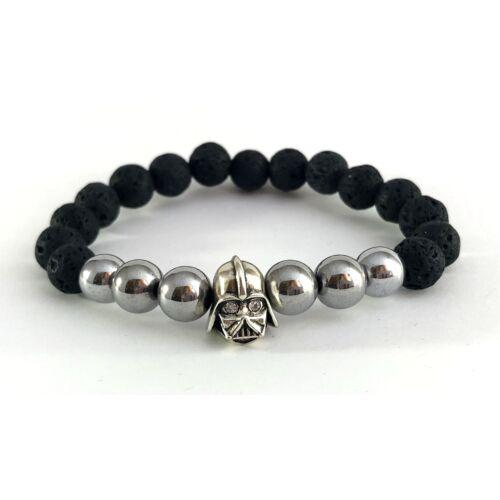 Matt fekete onix ásványkarkötő, ezüst színű hematit ásvannyal,cirkónia szemes ezüst színű Dart Vader fejjel