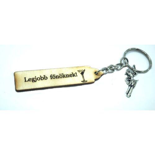 Legjobb főnöknek - Fa kulcstartó -