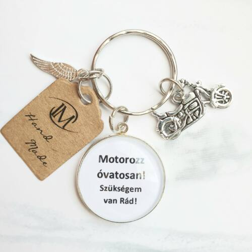 Motorozz óvatosan! - Üveglencsés kulcstartó -