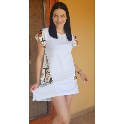 Fehér - újján és a hátulján képregény mintás tunika / ruha
