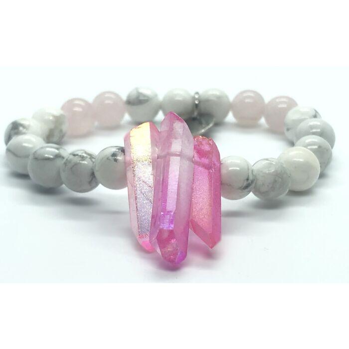 Howlit ásványkarkötő, rózsakvarc gyöngyökkel, rózsaszín kvarckristállyal