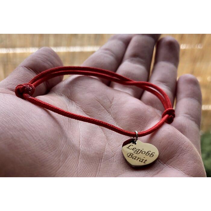 Piros szerencse karkötő - Legjobb Barát szives fityegővel
