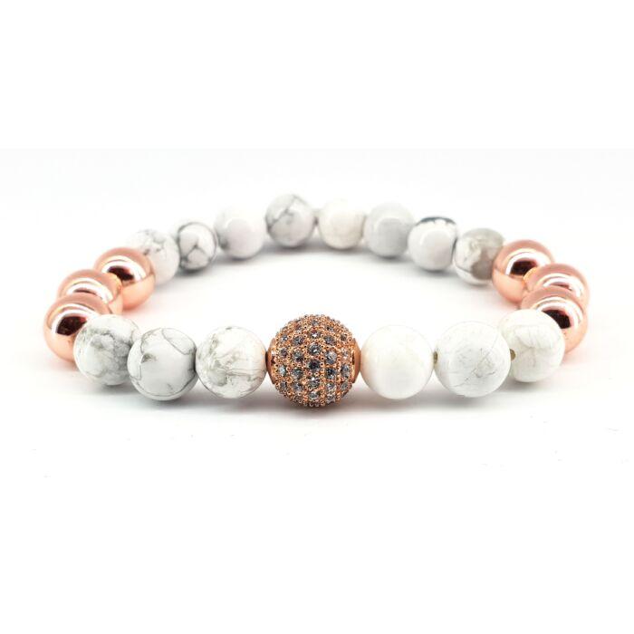 Howlit ásványkarkötő rose gold színű hematit gyöngyökkel, cirkónia köves rose gold színű gyönggyel