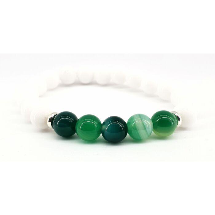Fehér jáde ásványkarkötő, zöld achát gyöngyökkel
