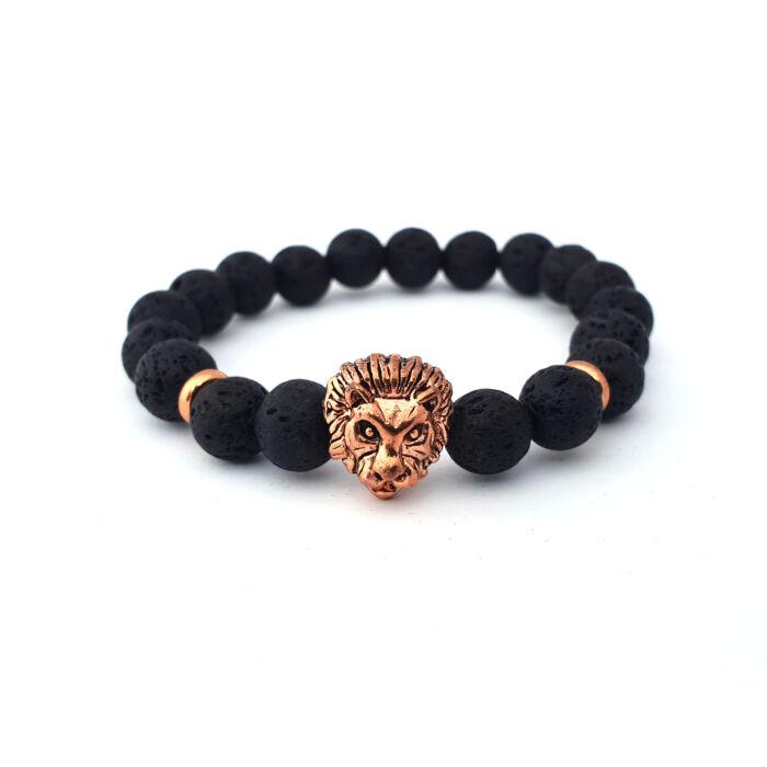 Fekete lávaköves ásványkarkötő, rose gold színű oroszlánfejjel