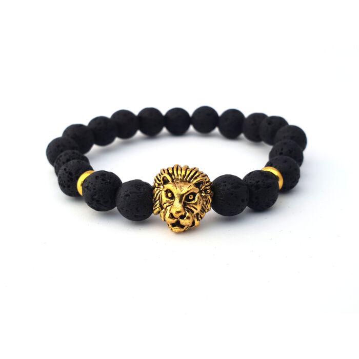 Fekete lávaköves ásványkarkötő, arany színű oroszlánfejjel