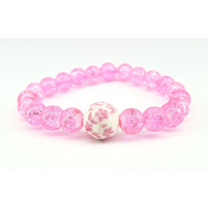Rózsaszín roppantott üveggyöngy karkötő, mintás porcelán gyönggyel