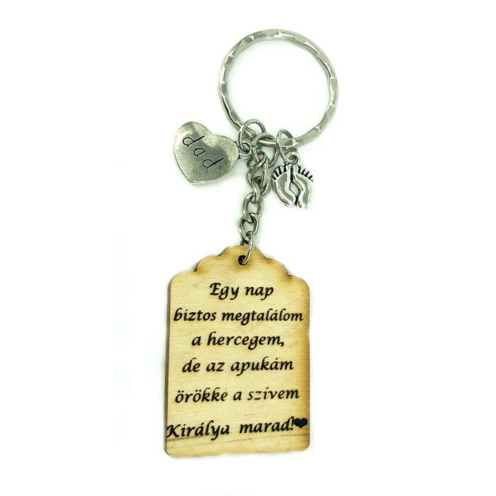 Apa a szívem királya - Fa kulcstartó -