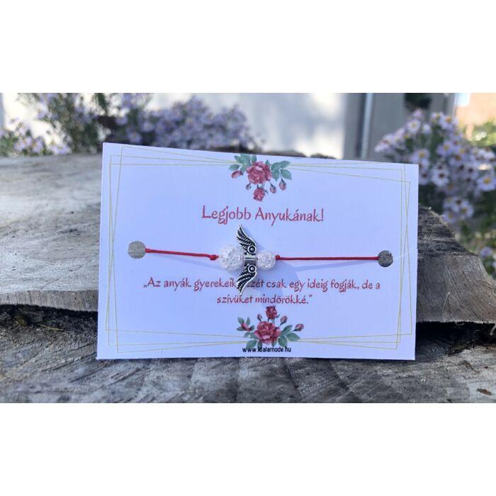 Legjobb Anyukának! - piros fonalas hegyikristály gyöngyös angyalkás karkötő - 6 -