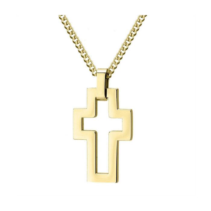 Aranyozott rozsdamentes acél nyaklánc, minimalista kereszttel