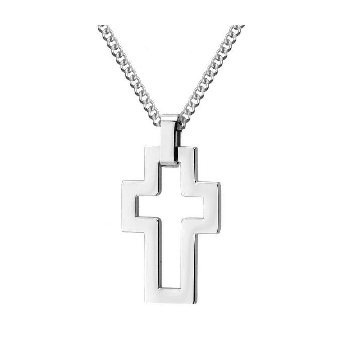 Ezüst színű rozsdamentes acél nyaklánc, minimalista kereszttel